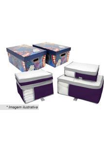 Kit De Caixa Para Enxoval- Roxo & Azul- 6Pçs- Boboxmania