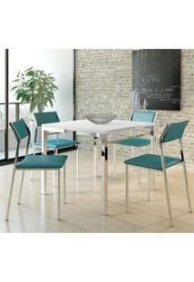 Mesa 1525 Branca Cromada Com 4 Cadeiras 1709 Turquesa Carraro
