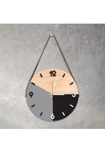 Relógio De Parede Decorativo Adnet Cinza E Preto Com Números Em Relevo Médio