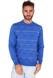 Blusa G'Dom Azul Com Cotoveleiras E Geométrica