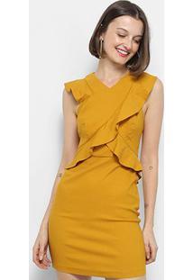 69f07c0d21 Vestido Colcci Tubinho Curto Babados - Feminino-Amarelo