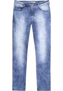 Calça Masculina Skinny Em Jeans Hering Com Desgaste De Cor