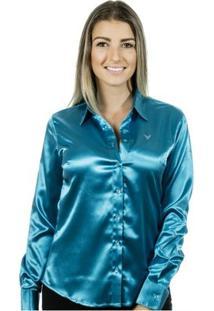 Camisa Pimenta Rosada Iasmin - Feminino-Azul Turquesa