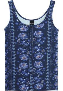 Blusa Azul Marinho Arabesco Com Botões