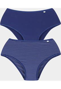 Kit Calcinha Delcotton Microfibra Cintura Alta 2 Peças - Feminino