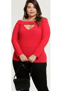Blusa Feminina Ombro A Ombro Canelada Plus Size