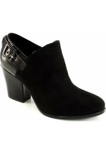 Ankle Boot Nobuck E Verniz Offline - Feminino-Preto
