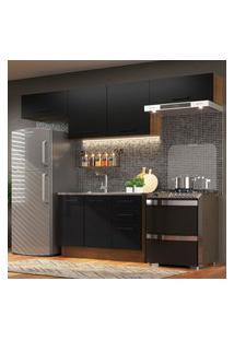 Cozinha Compacta Madesa Agata 280002 Com Armário E Balcáo - Rustic/Preto Marrom