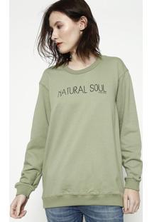 """Blusã£O Em Moletinho """"Natural Soul""""- Verde & Preto- Ccolcci"""