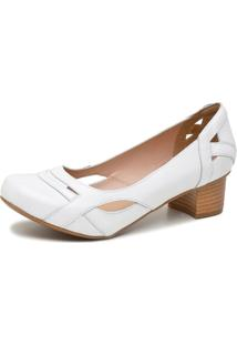 Sapato Retrô Salto Quadrado Dhl Feminino Branco - Kanui