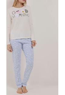 Pijama Longo Feminino Off White/Lilás