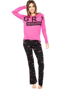 Pijama Any Any Girls Revolution Rosa/Preto