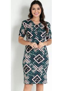 Vestido Com Botões Geométrico Moda Evangélica