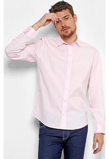 Camisa Colcci Slim Elastano Masculina - Masculino-Rosa