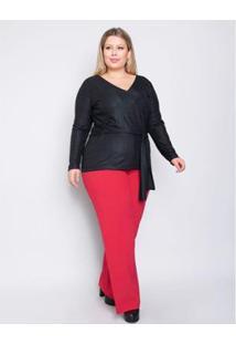 Calça Plus Size Palank Energia Feminina - Feminino-Vermelho