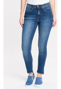 Calça Jeans Five Pockets Mid Rise Slim - Marinho - 34