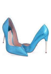 Scarpin Clássico Salto Alto Bico Fino Marjorie Azul