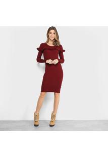 Vestido Facinelli Curto Manga Longa Babados - Feminino-Vinho