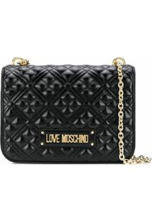 Love Moschino Quilted Logo Plaque Shoulder Bag - Preto