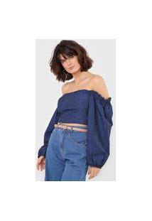 Blusa Cropped Jeans Morena Rosa Bufante Azul