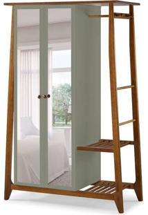 Guarda-Roupa Solteiro Stoka Com Espelho 2 Pt Nogal E Cinza