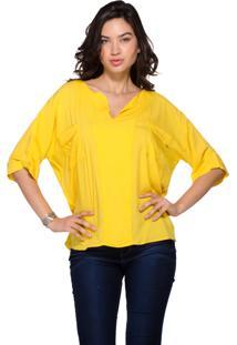 Camisa Bata Farrow Cambraia Viscose Amarela