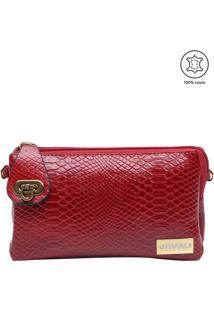 Bolsa Carteira Texturizada Em Couro- Vermelha- 11X18Javali
