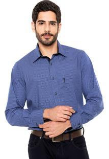 Camisa Aleatory Geométrica Azul-Marinho