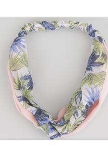 Faixa De Cabelo Estampada Floral Rosa Claro - Único