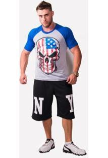 Camiseta Raglan Caveira Usa - Masculino