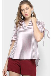 Blusa Lily Fashion 3/4 Estampa Listrada Feminina - Feminino-Vermelho
