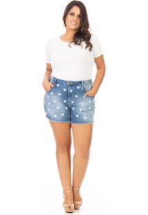 Shorts Feminino Jeans Cintura Alta Com Bordado Coração Plus Size - Kanui