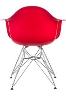 Conjunto 4 Cadeiras Eiffel Eames Dar Pés Cromado Vermelha