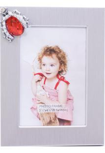 Porta Retrato Minas De Presentes Alumínio Inseto 1 Foto 8.5X11Cm Prata