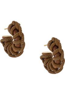 Bottega Veneta Braided-Detail Short Earrings - Marrom