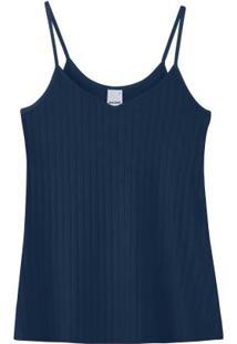 Blusa Azul Marinho Canelada Em Viscose