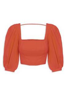 Blusa Feminina Cropped Decote Quadrado - Vermelho