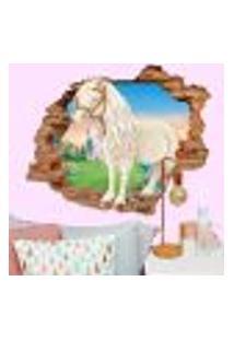 Adesivo De Parede Buraco Falso 3D Cavalo Branco - Eg 100X122Cm