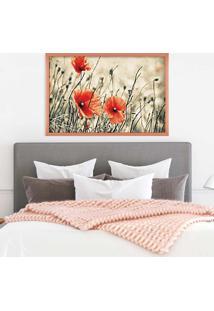 Quadro Love Decor Com Moldura Flores Rose Metalizado Grande