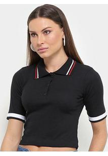 Camisa Polo Cropped Lecimar Feminina - Feminino-Preto
