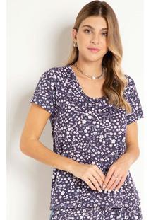 Blusa T-Shirt Floral Marinho