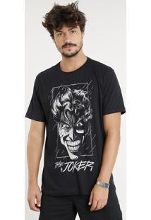 Camiseta Masculina Coringa Manga Curta Gola Careca Preta