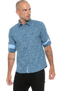 Camisa Polo Wear Reta Estampada Azul