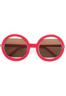 Marni Eyewear Óculos De Sol Com Armação Arredondada - Vermelho