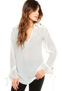 Camisa Animale Seda Ilhos Off-White