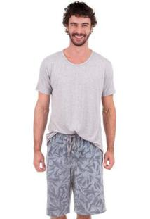Pijama Masculino Curto Tropical Inspirate - Masculino-Cinza