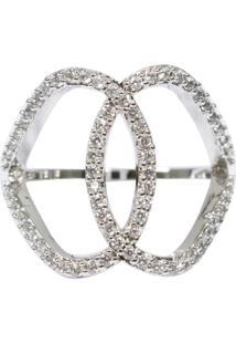 Anel Piuka Acessórios Chanel Inspired Fileiras Zircônia Folheado Prata
