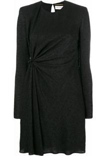 Saint Laurent Vestido De Seda Com Franzido - Preto