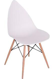 Cadeira Pingo- Branca & Marrom Claro- 88,5X50X55Cm