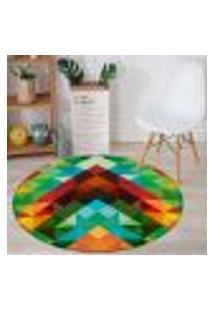 Tapete Redondo Wevans Triângulos Abstrato Color 94Cm
